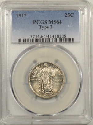 New Certified Coins 1917 STANDING LIBERTY QUARTER TY II – PCGS MS-64, FLASHY!