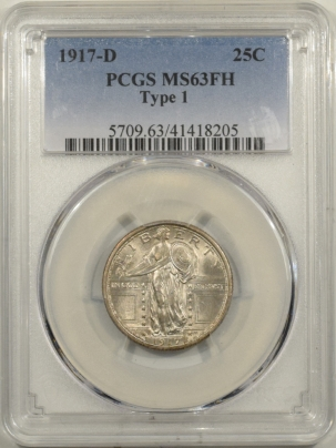 New Certified Coins 1917-D STANDING LIBERTY QUARTER TY I – PCGS MS-63 FH, FRESH, CHOICE!
