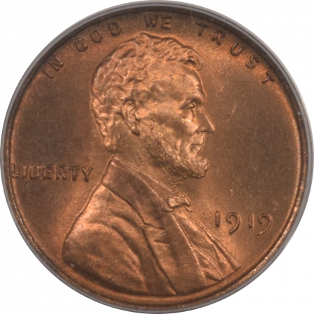 New Certified Coins 1919 LINCOLN CENT – PCGS MS-65RB, PRETTY GEM!