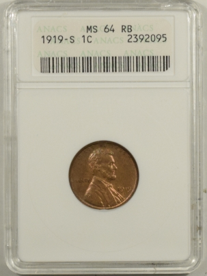 Coin World/Numismatic News Featured Coins 1919-S LINCOLN CENT – ANACS MS-64RB, TOUGH!