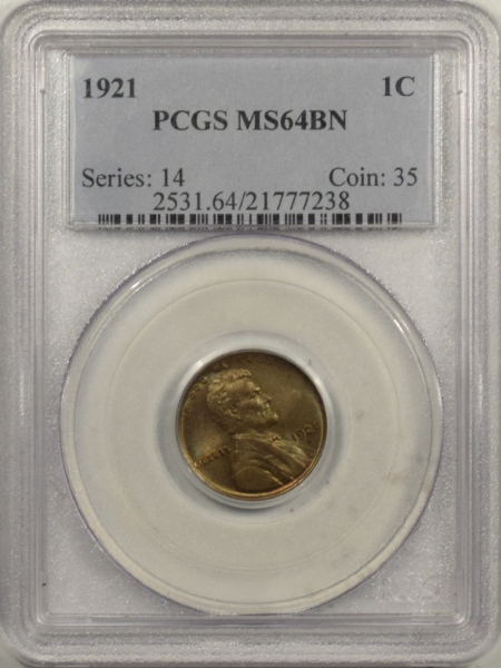 New Certified Coins 1921 LINCOLN CENT – PCGS MS-64 BN PRETTY & PREMIUM QUALITY!