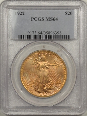 $20 1922 $20 ST GAUDENS GOLD – PCGS MS-64, NICE COLOR!