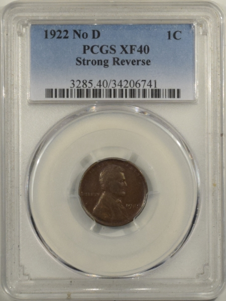 New Certified Coins 1922 NO D LINCOLN CENT – STRONG REVERSE, PCGS XF-40, CHOCOLATE BROWN!