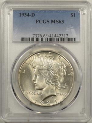 Dollars 1934-D PEACE DOLLAR PCGS MS-63, BLAST WHITE & FLASHY