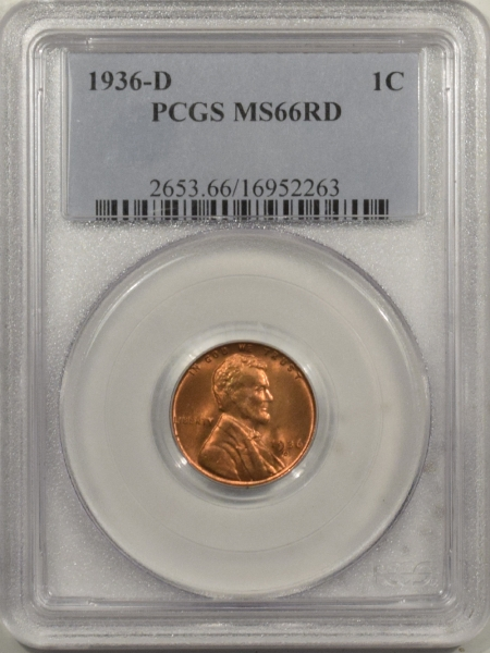 New Certified Coins 1936-D LINCOLN CENT – PCGS MS-66 RD