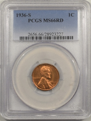 Lincoln Cents (Wheat) 1936-S LINCOLN CENT – PCGS MS-66 RD