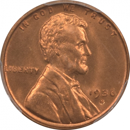 New Certified Coins 1936-S LINCOLN CENT – PCGS MS-66 RD