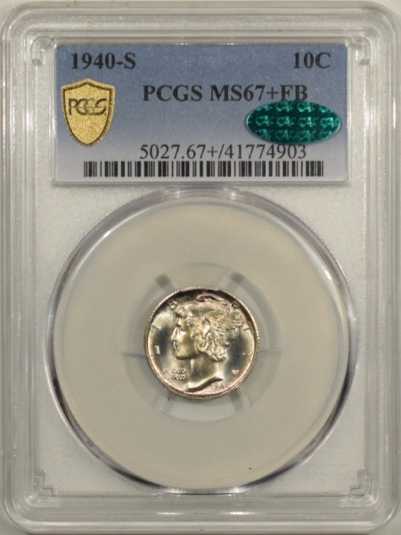 New Certified Coins 1940-S MERCURY DIME – PCGS MS-67+ FB & CAC APPROVED!