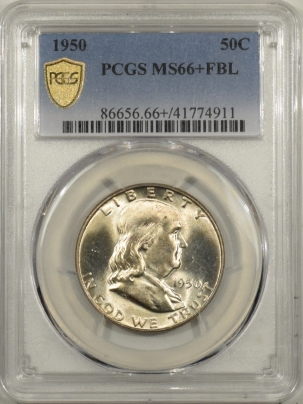 New Certified Coins 1950 FRANKLIN HALF DOLLAR – PCGS MS-66+ FBL