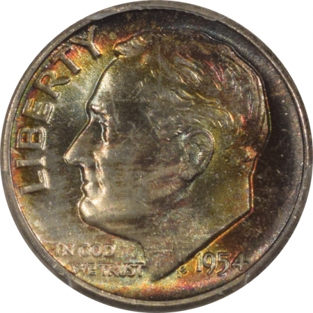 New Certified Coins 1954 ROOSEVELT DIME – PCGS MS-67, GORGEOUS COLOR!