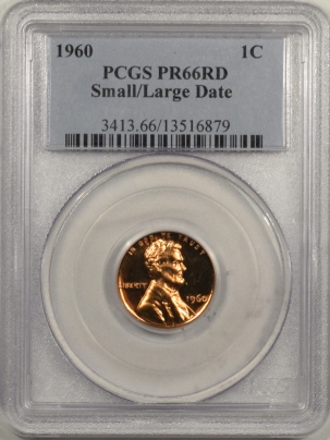 Coin World/Numismatic News Featured Coins 1960 PROOF LINCOLN CENT – SMALL/LARGE DATE – PCGS PR-66 RD POPULAR VARIETY!