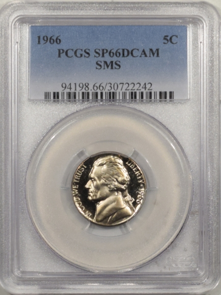 Jefferson Nickels 1966 JEFFERSON NICKEL SMS – PCGS SP-66 DCAM TOUGH!