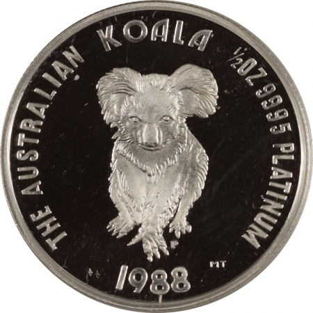 New Certified Coins 1988 AUSTRALIA $50 1/2 OZ PLATINUM KOALA PROOF, FIRST YEAR, GEM PROOF ORIG BOX