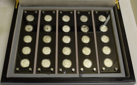 New Certified Coins 1982-1997 25TH ANN CHINA PANDA .999 SILVER PROOF 25 COIN SET, 1/4 OZ COINS, OGP