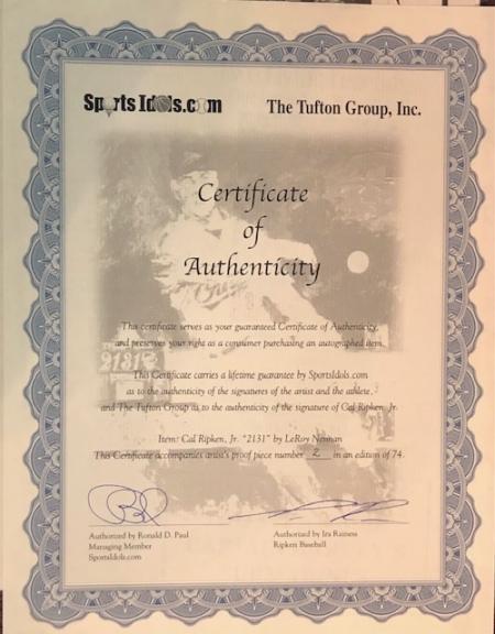 "Sports Collectibles LARGE LEROY NEIMAN CAL RIPKEN ""2131"" SERIGRAPH ARTIST PROOF, CUSTOM FRAME & COA"