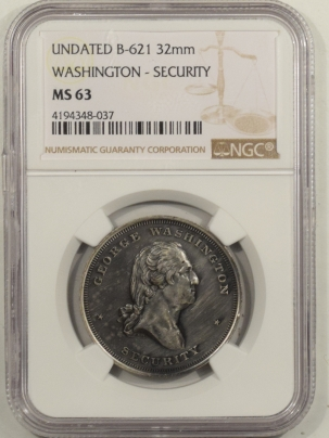 Civil War & Hard Times UNDATED (1861-1865) CIVIL WAR DOG TAG, WASHINGTON-SECURITY B-621 32MM-NGC MS-63