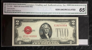 Small U.S. Notes 1928 G $2 LEGAL TENDER NOTE, FR-1508, GEM UNCIRCULATED (IN A GRADED HOLDER)