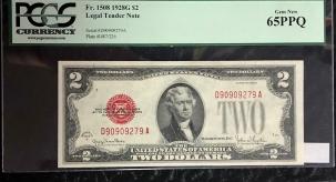 Small U.S. Notes 1928 G $2 LEGAL TENDER NOTE, FR-1508, PCGS GEM NEW 65PPQ