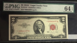 U.S. Currency 1953 C $2 LEGAL TENDER NOTE, FR-1512*, PMG CHOICE UNCIRCULATED 64EPQ