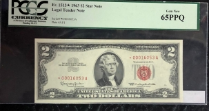 Small U.S. Notes 1963 $2 LEGAL TENDER NOTE, FR-1513*, STAR NOTE, PCGS GEM NEW 65PPQ