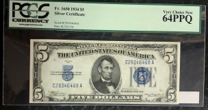 Small Silver Certificates 1934 $5 SILVER CERTIFICATE, FR-1650, PCGS VERY CHOICE NEW 64 PPQ