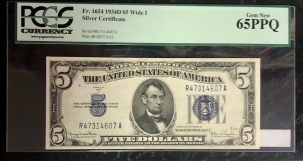 Small Silver Certificates 1934-D $5 SILVER CERTIFICATE, WIDE I, FR-1654, PCGS GEM NEW 65 PPQ