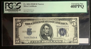 Small Silver Certificates 1934-D $5 SILVER CERTIFICATE, NARROW, FR-1654, PCGS EXTREMELY FINE 40 PPQ