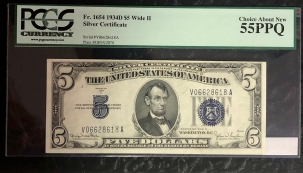 Small Silver Certificates 1934-D $5 SILVER CERTIFICATE, WIDE II, V-A BLOCK, FR-1654-PCGS CH ABT NEW 55 PPQ
