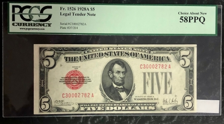 U.S. Currency 1928-A $5 UNITED STATES NOTE, FR-1526, PCGS CHOICE ABOUT NEW 58 PPQ