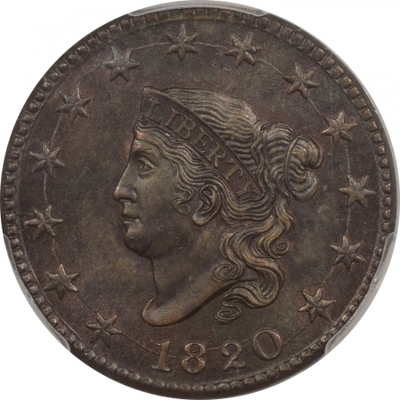 New Certified Coins 1820 CORONET HEAD LARGE CENT, LARGE DATE – PCGS MS-64BN, CAC APPROVED!