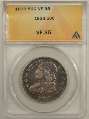 Early Halves 1833 CAPPED BUST HALF DOLLAR – ANACS VF-35
