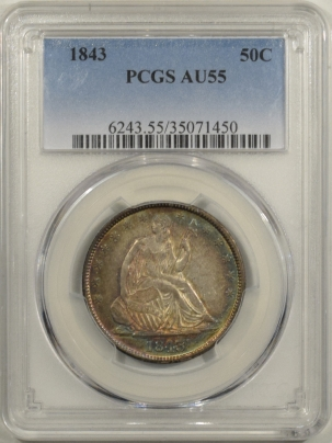 Early Halves 1843 LIBERTY SEATED HALF DOLLAR – PCGS AU-55 ORIGINAL & REALLY PRETTY!