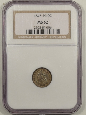 Coin World/Numismatic News Featured Coins 1845 SEATED LIBERTY HALF DIME – NGC MS-62