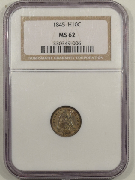 New Certified Coins 1845 SEATED LIBERTY HALF DIME – NGC MS-62