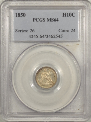 New Certified Coins 1850 SEATED LIBERTY HALF DIME – PCGS MS-64