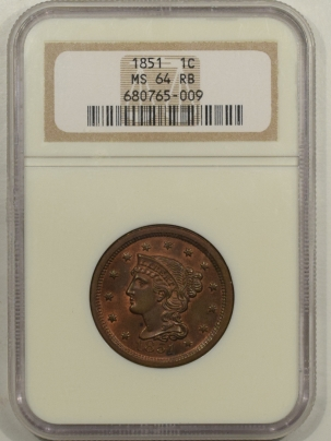 Braided Hair Large Cents 1851 BRAIDED HAIR LARGE CENT – NGC MS-64 RB FRESH & NEAR GEM!