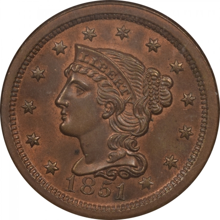 New Certified Coins 1851 BRAIDED HAIR LARGE CENT – NGC MS-64 RB FRESH & NEAR GEM!