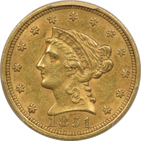 New Certified Coins 1851 $2.50 LIBERTY GOLD – PCGS AU-55