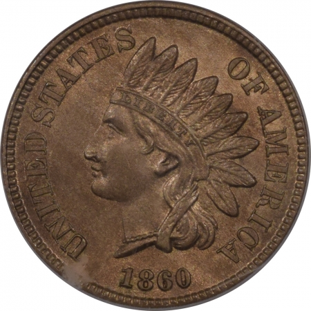 New Certified Coins 1860 INDIAN CENT, POINTED BUST – PCGS MS-64, CAC APPROVED!