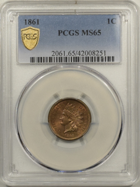 New Certified Coins 1861 INDIAN CENT PCGS MS-65, FRESH & PQ GEM!