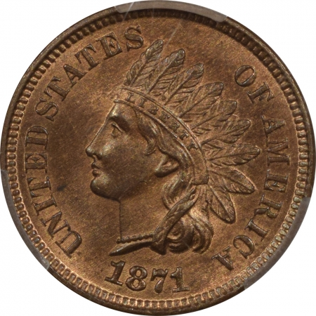CAC Approved Coins 1871 INDIAN HEAD CENT – PCGS MS-65 RB, A PERFECT ORIGINAL GEM! CAC APPROVED!