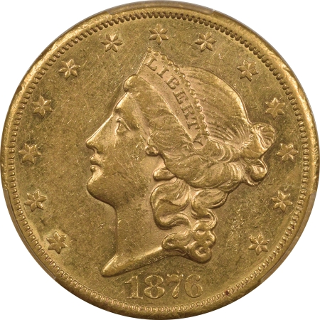 New Certified Coins 1876-CC $20 LIBERTY GOLD – PCGS AU-55, FRESH & FLASHY, CARSON CITY!
