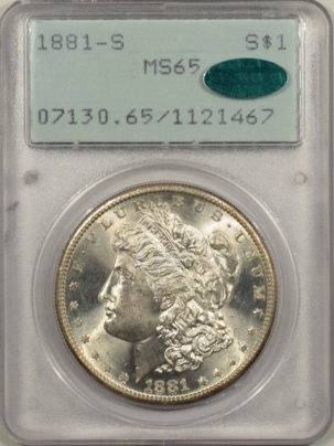 New Certified Coins 1881-S MORGAN DOLLAR – PCGS MS-65 BLAZING WHITE, RATTLER, PQ & CAC APPROVED!
