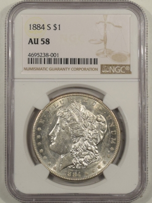 New Certified Coins 1884-S MORGAN DOLLAR – NGC AU-58