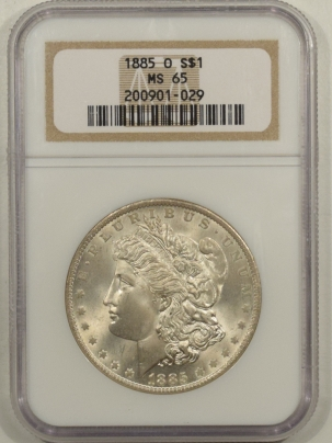 New Certified Coins 1885-O MORGAN DOLLAR – NGC MS-65, PREMIUM QUALITY!