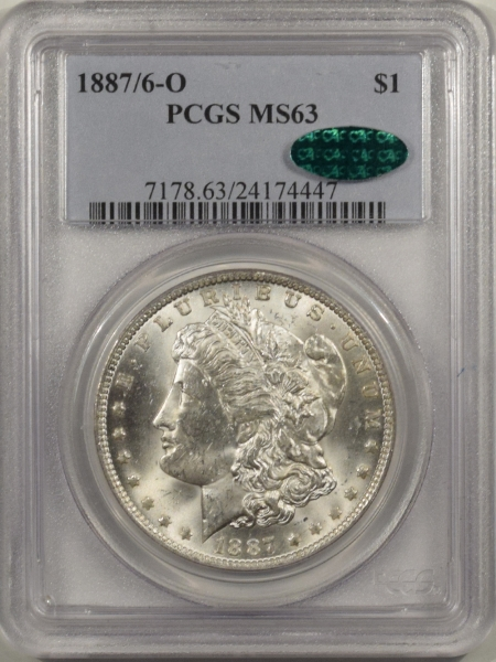 New Certified Coins 1887/6-O MORGAN DOLLAR – PCGS MS-63 CAC APPROVED! BLAST WHITE & PQ!