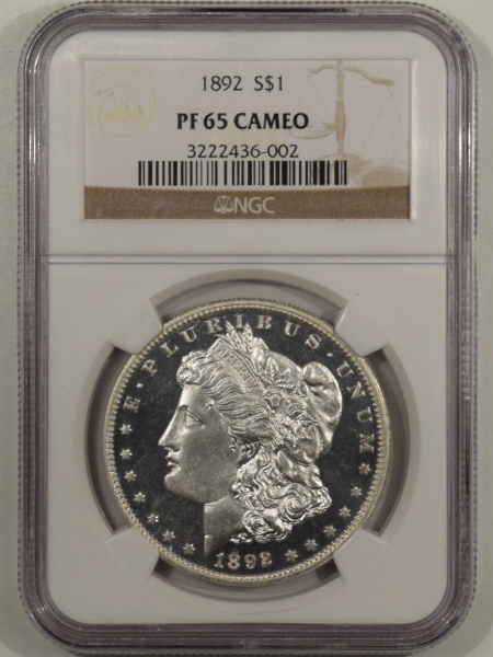 New Certified Coins 1892 PROOF MORGAN DOLLAR NGC PF-65 CAM, BLACK & WHITE, ALMOST ULTRA CAMEO & PQ!