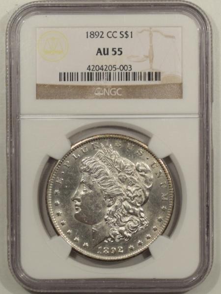 New Certified Coins 1892-CC MORGAN DOLLAR – NGC AU-55, BLAST WHITE!