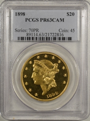 $20 RARE 1898 $20 LIBERTY GOLD, PCGS PROOF-63 CAMEO, MINTAGE 75; GREAT LOOKING COIN!
