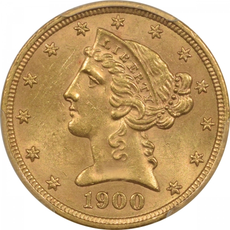 New Certified Coins 1900 $5 LIBERTY GOLD – PCGS MS-63, CHOICE!
